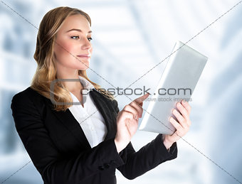 Business lady with touch pad