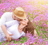 Romantic kisses outdoors