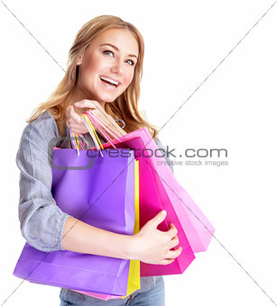 Excited female with shopping bags