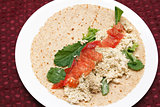 Salmon Salad Spread on Soft Wrap