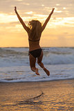 Bikini Woman Girl Jumping Sunset Sunrise Beach