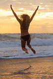 Bikini Woman Girl Jumping Sunset Sunrise Beach