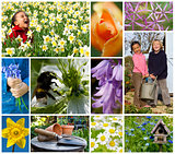 Children Playing Spring Garden Flowers Montage
