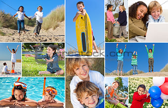Montage Happy Active Children Playing