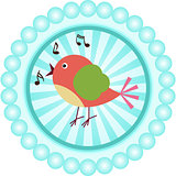 Cute singing bird round sticker