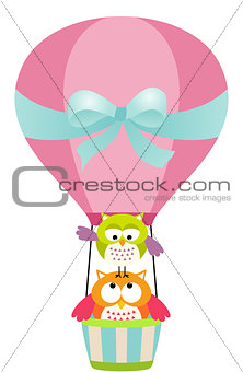 Owls in a Hot Air Balloon