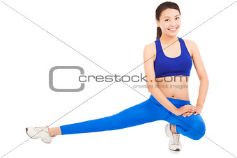 Young beautiful woman doing core workout