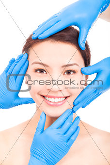 Beautiful woman make a cosmetic operation