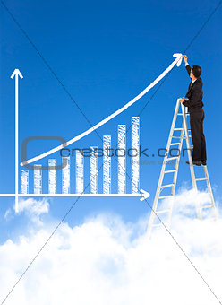 business man writing growth bar chart with sky background