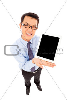 businessman using a tablet to display