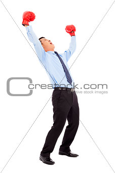 businessman screaming to shout after winning