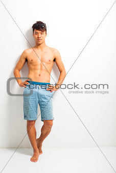 Sexy portrait of a muscular shirtless male model