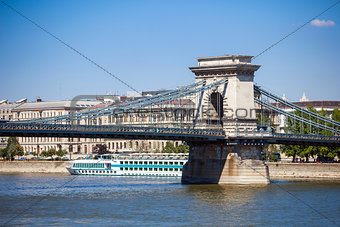Cruise ships on Danube river in Budapest