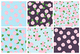 Set of seamless floral patterns of roses