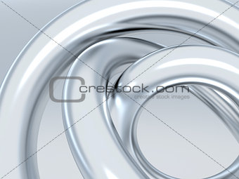 Abstract metallic rings on shined grey background