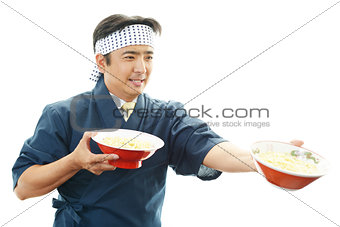 Asian chef with noodle