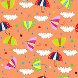 seamless background with drops raining umbrellas art