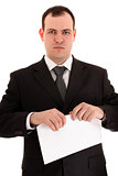 businessman ready tear paper