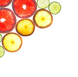 Mix of colorful citrus fruit on white