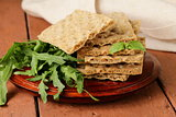 stack of dietary whole wheat crisp bread - healthy eating