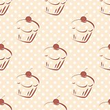 Seamless vector pattern or texture with cherry cupcakes and white polka dots on pink background.