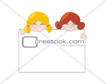 Blond and ginger hair vector hostess girls
