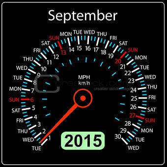 2015 year calendar speedometer car in vector. September.