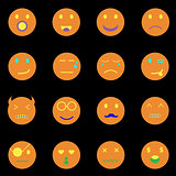 Emotion round face icons on black background