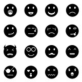 Emotion round face icons on white background