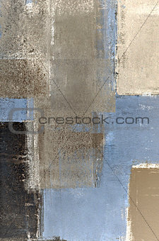 Blue and Brown Abstract Art Painting