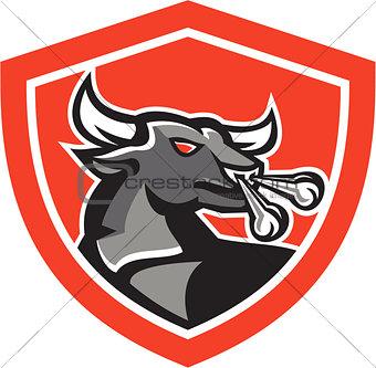 Angry Bull Head Shield Retro
