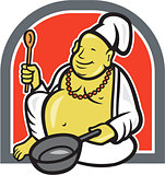 Fat Happy Buddha Chef Cook Cartoon