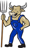 Farmer Cow Holding Pitchfork Cartoon