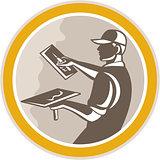Plasterer Masonry Worker Trowel Retro