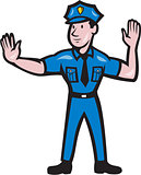 Traffic Policeman Stop Hand Signal Cartoon