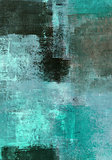 Turquoise and Brown Abstract Art Painting