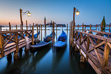 Gondolas, Grand Canal and San Giorgio Maggiore Church at Dawn, V