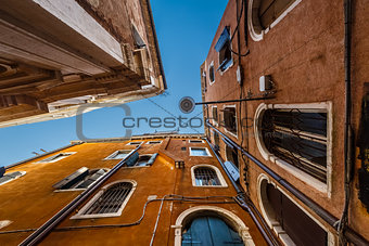Old Historical Houses Facades in Venice, Italy