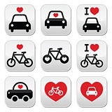 I love cars and bikes buttons set
