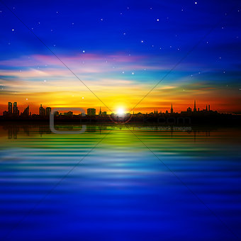 abstract background with silhouette of Tallinn