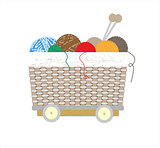 Thread balls of yarn with spokes basket art illustration
