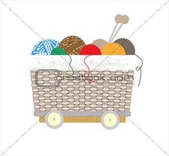 Thread balls of yarn with spokes basket art illustration
