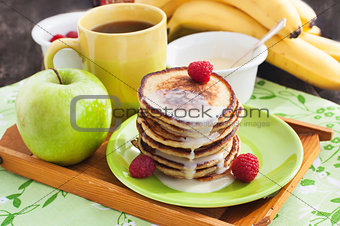 Breakfast with apple pancakes