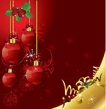 beautifull red christmas ball postcard on red background