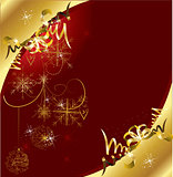 Red Christmas card with snowflakes and gold baubles