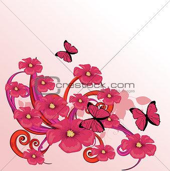 Beauty pink flower design