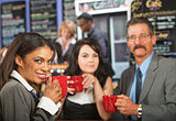 Cheerful Business People in Cafe