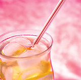 cold fresh lemonade  on  pink background