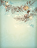 Vintage hand drawn floral background