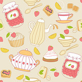 Seamless pattern with tea and fruits